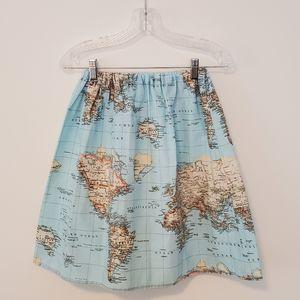 World Map A-Line Skirt Size ~XS